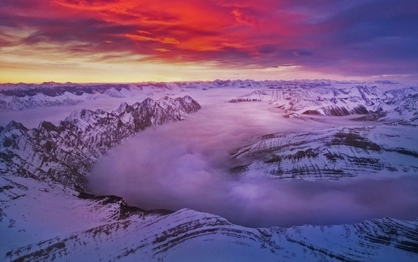 Фото обои зима, облака, снег, вершины, Канада, зарево, Альберта