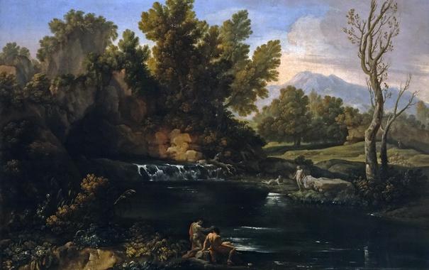 Фото обои люди, Коррадо Джаквинто, деревья, Пейзаж с Водопадом, вода, картина, скала