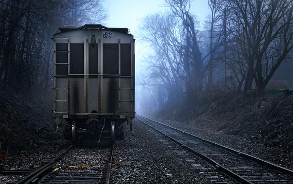 Фото обои рельсы, вагон