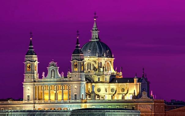 Фото обои небо, ночь, огни, собор, Испания, купол