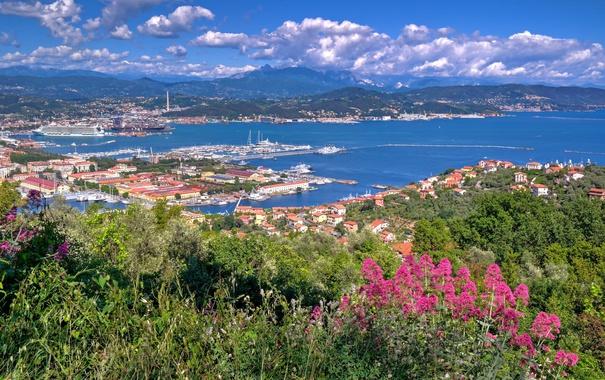 Фото обои море, цветы, город, корабль, дома, порт, Италия
