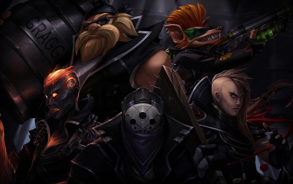 Фото обои lol, League of Legends, Vladimir, Brand, Jax, Gragas, the Burning Vengeance