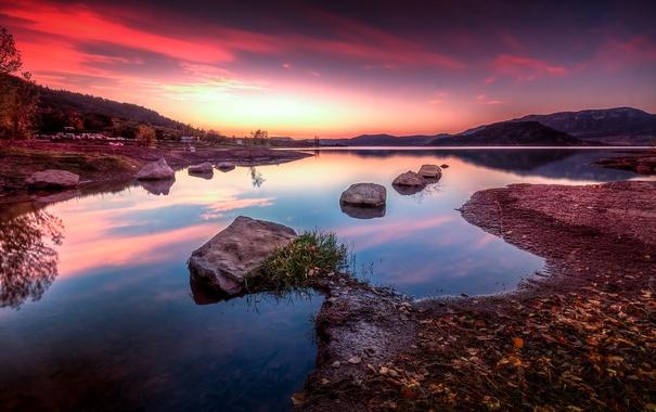 Фото обои горы, озеро, Франция, зарево, Сель, Лангедок-Руссильон