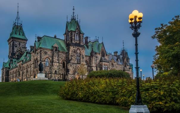 Фото обои замок, Канада, памятник, фонарь, дворец