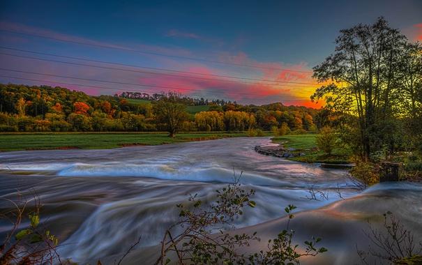 Фото обои осень, небо, облака, деревья, закат, река
