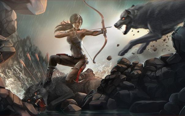 Фото обои девушка, арт, волки, Tomb Raider
