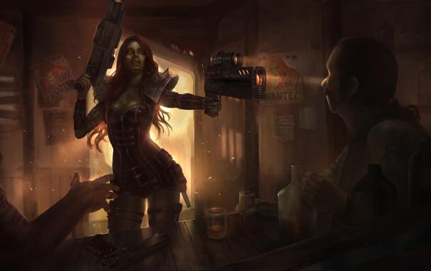 Фото обои женщина, бар, рыжая, Heroes of Newerth, Flinty Widowmaker