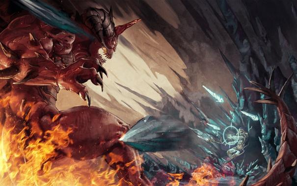 Фото обои бой, демон, маг, битва, Diablo, Jaina Proudmoore, Lord of Terror