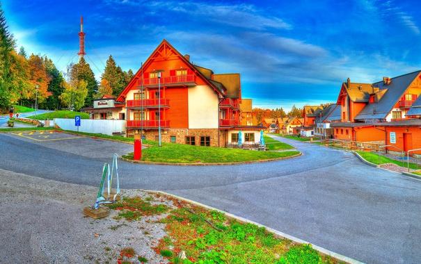 Фото обои дорога, небо, деревья, дом, Словения, maribor