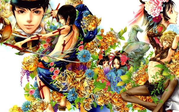 Фото обои взгляд, девушка, цветы, оружие, аниме, арт, Tukiji Nao