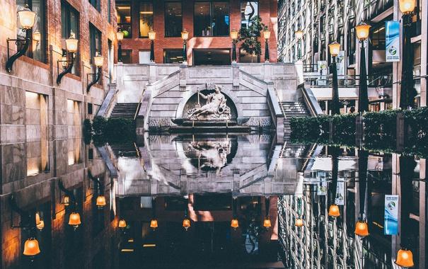 Фото обои отражение, здания, зеркало, Канада, фонтан, Монреаль, фонарные столбы
