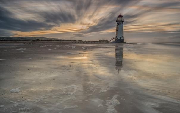 Фото обои море, маяк, вечер