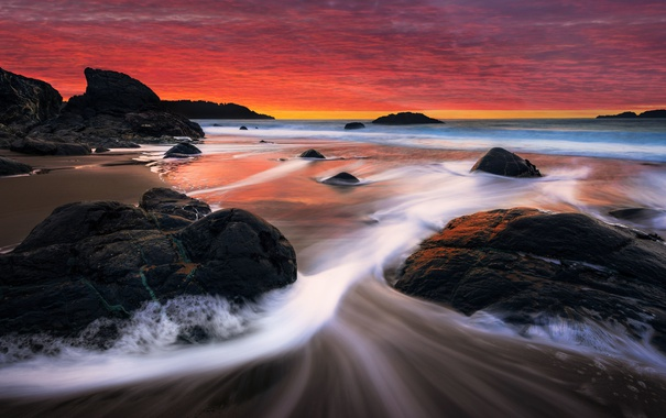 Фото обои волны, пляж, закат, красный, камни, Калифорния, Сан-Франциско