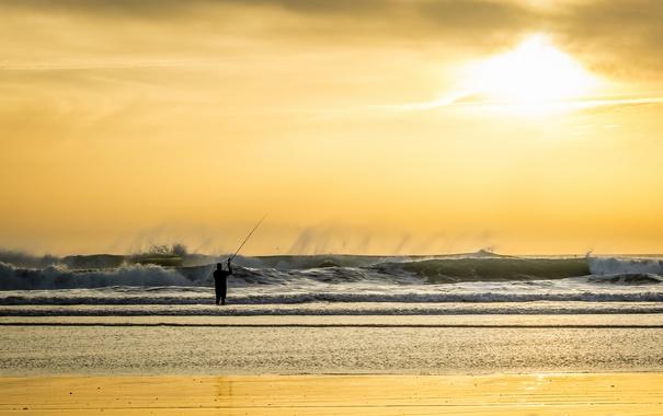 Фото обои море, рыбалка, человек