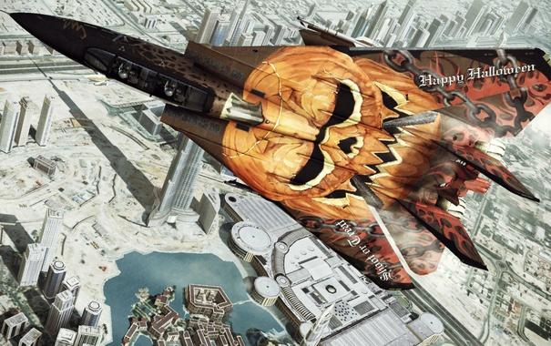 Фото обои город, истребитель, Project Aces, Ace Combat, Assault Horizon
