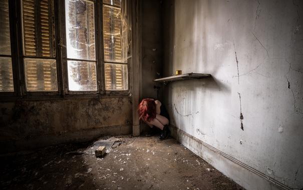 Фото обои девушка, комната, настроение