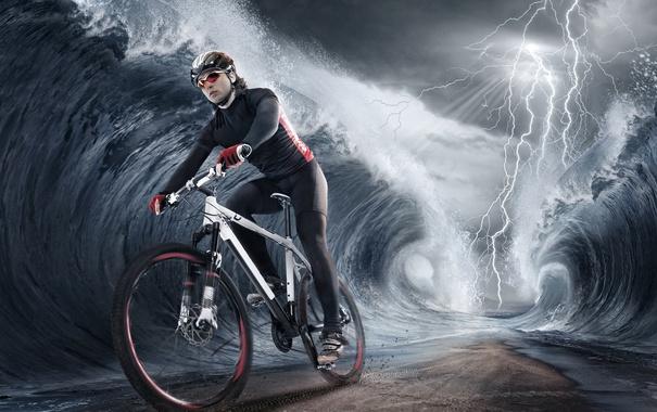 Фото обои волны, велосипед, молния, спортсмен