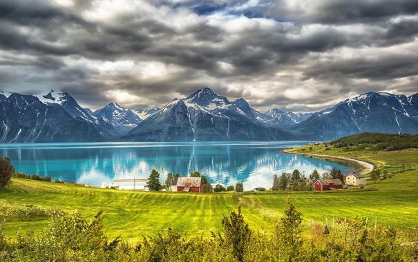 Фото обои небо, горы, озеро
