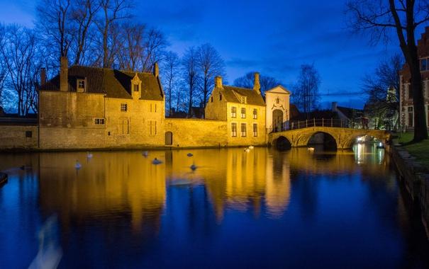 Фото обои Брюгге, Бельгия, канал, дома, огни, мост, ночь