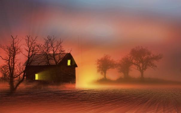Фото обои ночь, туман, дом
