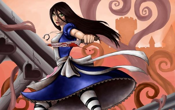 Фото обои город, кровь, игра, Алиса, нож, Alice Madness Returns