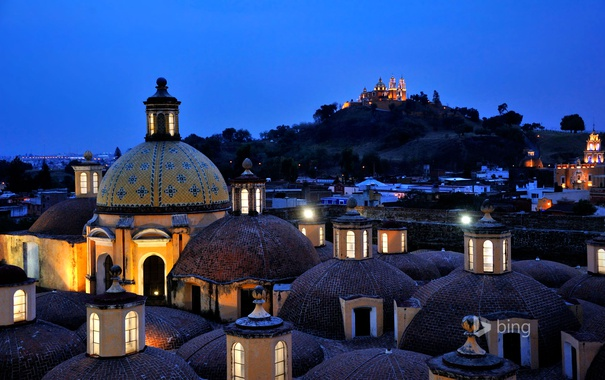 Фото обои крыша, небо, ночь, огни, Мексика, купол, Mexico