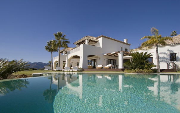 Фото обои дом, вилла, бассейн