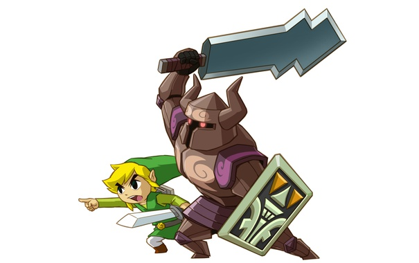 Фото обои sword, zelda, shield, creature