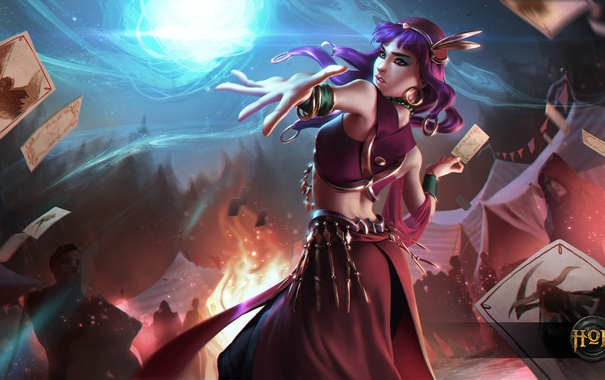 Фото обои карты, девушка, пламя, волшебница, Heroes of Newerth