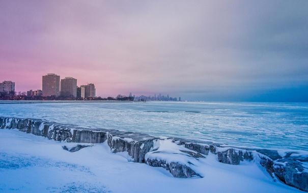 Фото обои зима, снег, небоскребы, Чикаго, USA, Chicago, мегаполис