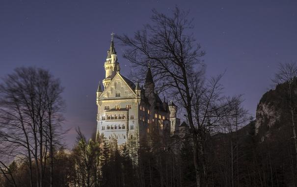 Фото обои небо, звезды, деревья, горы, ночь, замок, Германия