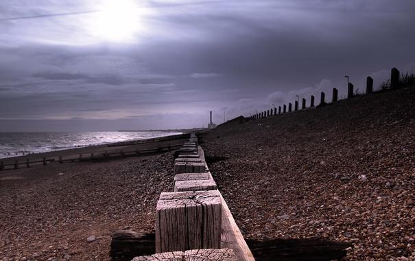Фото обои море, пейзаж, Beach, Shoreham Harbour