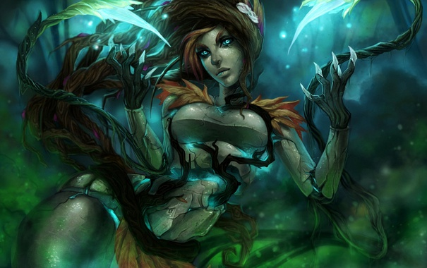 Фото обои девушка, растения, арт, когти, league of legends, zyra
