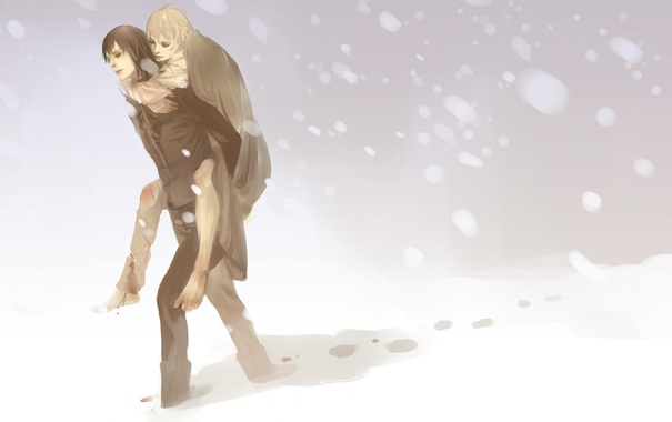 Фото обои снег, кровь, буря, парни, art, harry potter, remus lupin