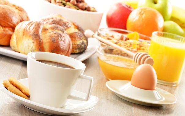 Фото обои яйцо, завтрак, булочки, rolls, coffee, juice, кофе