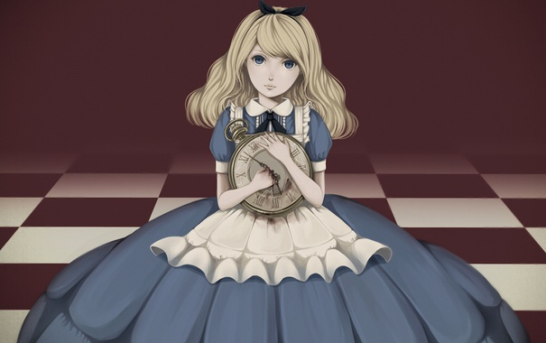 Фото обои девушка, часы, арт, Алиса, бант