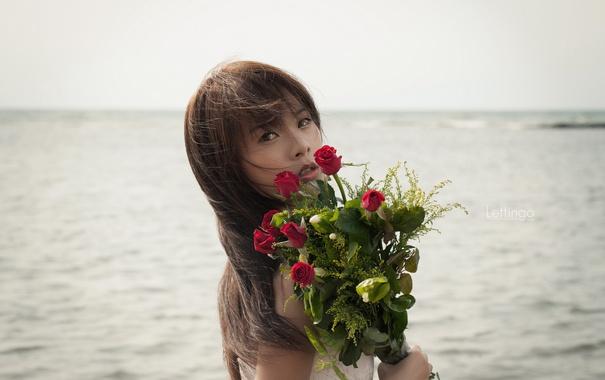 Фото обои девушка, цветы, азиатка