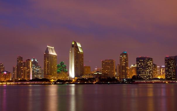 Фото обои ночь, огни, небоскреб, дома, США, Сан-Диего