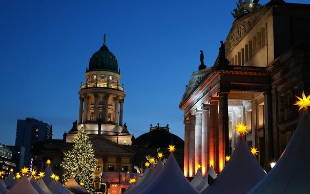 Фото обои Германия, площадь, Рождество, Берлин, ярмарка, Жандарменмаркт, Немецкий собор