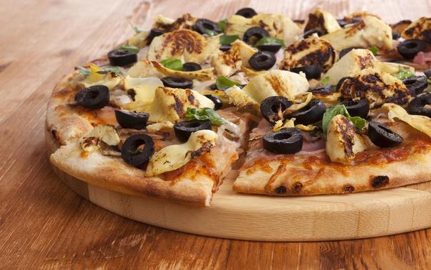Фото обои pizza, cheese, dough, wooden plate, portion