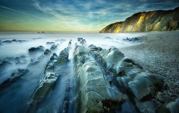 Фото обои море, небо, камни, скалы