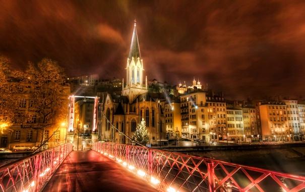 Фото обои ночь, мост, огни, река, Франция, дома, Лион