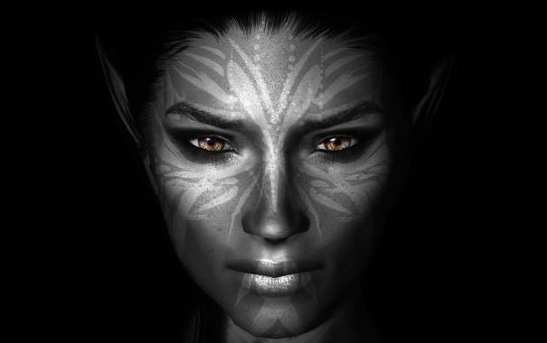 Фото обои девушка, лицо, темный фон, раскраска, Skyrim