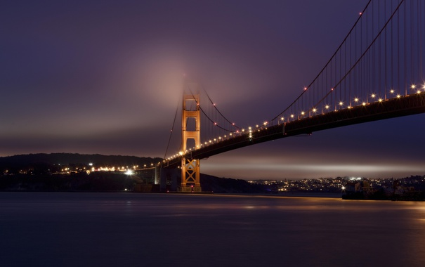 Фото обои мост, город, огни, освещение, залив, США