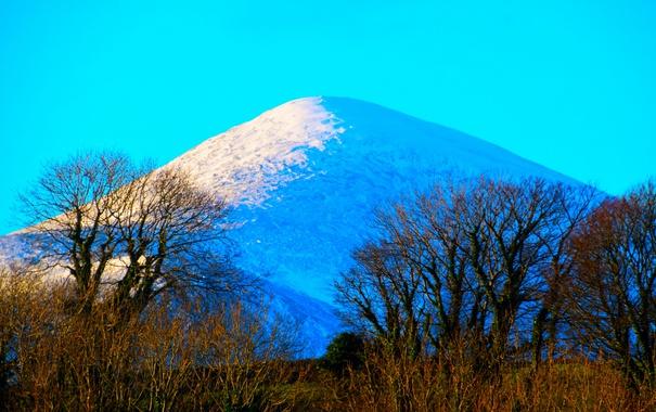 Фото обои небо, снег, деревья, природа, гора