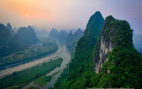 Фото обои небо, дымка, река, горы