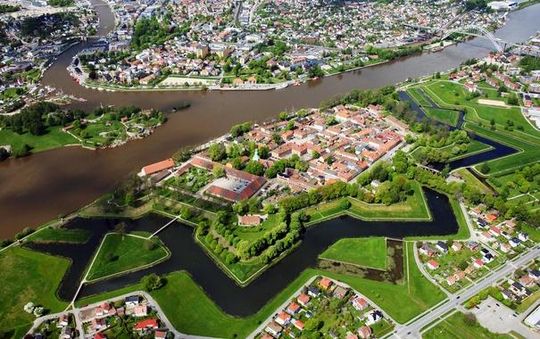 Фото обои река, дома, Норвегия, панорама, мосты, вид сверху, Fredrikstad
