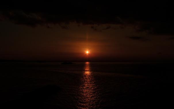 Фото обои море, небо, солнце, вечер