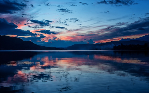 Фото обои облака, горы, озеро, отражение, Австрия