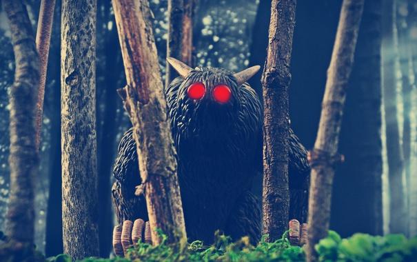 Фото обои лес, деревья, игрушки, рога, красные глаза, Bone, Rat Creature